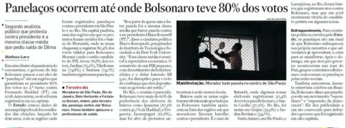 Panelaços ocorrem até onde Bolsonaro teve 80% dos votos